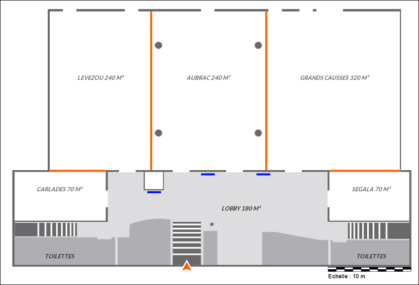 pour l'agencement de votre manifestation, aidez-vous de notre plan de salle à l'échjelle