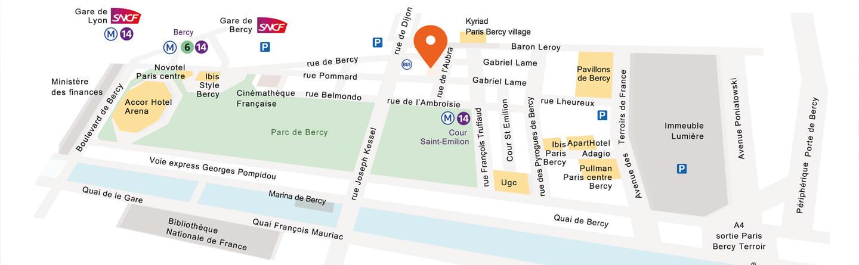 Grâce à notre plan d'accès, trouvez facilment nos espaces de location de salle à paris bercy